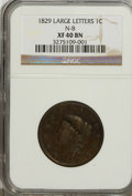 Large Cents: , 1829 1C Large Letters XF40 NGC. N-8. NGC Census: (2/27). PCGSPopulation (2/31). Mintage: 1,414,500. Numismedia Wsl. Price...