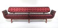 "EDWARD WORMLEY FOR DUNBAR An Upholstered ""Gondola"" Sofa on walnut frame, model no. 5719 32 x 112 x 25 inches (..."