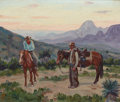 Texas:Early Texas Art - Regionalists, FRED DARGE (American, 1900-1978). Cowboy Landscape. Oil oncanvas laid on board. 10 x 12 inches (25.4 x 30.5 cm). Signed...