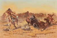 JOHN WADE HAMPTON (American, 1918-1999) Buffalo Hunt, 1969 Oil on canvas 20 x 30 inches (50.8 x 7
