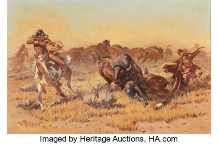 JOHN WADE HAMPTON (American, 1918-1999)Buffalo Hunt, 1969Oil on canvas20 x 30 inches (50.8 x 76.2 cm)Signed, mon...