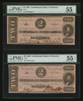 Confederate Notes:1862 Issues, T54 $2 1862. Two Examples.. ... (Total: 2 notes)