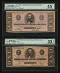 Confederate Notes:1862 Issues, T55 $1 1862. Two Examples. ... (Total: 2 notes)