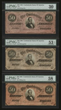 Confederate Notes:1864 Issues, T66 $50 1864. Three Example.. ... (Total: 3 notes)