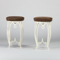 Furniture , RENE PROU. A Pair of White-Lacquered Metal Stools, circa 1925. 22 x 13 inches (55.9 x 33.0 cm) each. ... (Total: 2 Items)