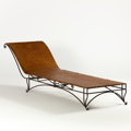 Furniture : French, J.C. MOREUX. A Wrought Iron and Woven Cane Chaise Longue, circa 1930-1935. 28 x 28 x 86 inches (71.1 x 71.1 x 218.4 cm). ...