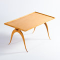Furniture , RENE PROU. A Sycamore Occasional Table, circa 1930. 20 x 40 x 22 inches (50.8 x 101.6 x 55.9 cm). ...