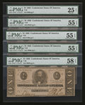 Confederate Notes:1863 Issues, T62 $1 1863. Five Examples.. ... (Total: 5 notes)