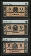 Confederate Notes:1864 Issues, T71 $1 1864. Three Examples.. ... (Total: 3 notes)