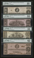 Confederate Notes:Group Lots, Mixed Lot of Confederate Notes. Four Examples.. ... (Total: 4notes)
