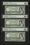 Canadian Currency: , BC-29a $1 1954 Devil's Face Three Consecutive Examples. ... (Total: 3 notes)