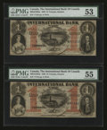 Canadian Currency: , Toronto, ON- International Bank $1 Sep. 15, 1858 Ch. #380-10-10-04a Two Examples. ... (Total: 2 notes)