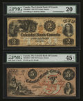 Canadian Currency: , Toronto, ON- Colonial Bank of Canada $2 May 8, 1859 Ch. # 130-10-02-04. Toronto, ON- Colonial Bank of Canada $5 May 4, 1... (Total: 2 notes)