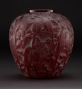 """Art Glass:Lalique, R. LALIQUE. """"Perruches"""" A Red Glass Vase, Marcilhac no. 876, designed 1919. Marks: engraved R. LALIQUE. 10-1/4 inches (26.0 ..."""