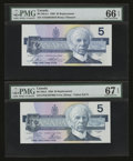 Canadian Currency: , BC-56aA $5 1986 PMG Superb Gem Unc 67 EPQ. BC-56cA-i $5 1986 PMGGem Uncirculated 66 EPQ. ... (Total: 2 notes)
