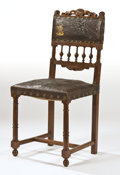 Furniture , Attributed to RENE LALIQUE AND CHARLES LAMBERT. An Extremely Rare Embossed Leather and Walnut Gallery Chair, circa 1890. 36-...