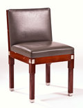 "Furniture , LALIQUE. A Mahogany, Gray Leather Upholstered, and Chrome Plated Metal Side Chair inlaid with glass ""Raisins"" panels, circa ..."