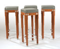 Furniture : French, LALIQUE. A Set of Four Blonde Wood, Gray Leather Upholstered, andChrome Plated Metal Cocktail Bar Stools inlaid with glass ...(Total: 4 Items)