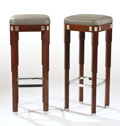 "Furniture : French, LALIQUE. A Pair of Mahogany, Gray Leather Upholstered, and ChromePlated Metal Cocktail Bar Stools inlaid with glass ""Raisin...(Total: 2 Items)"