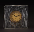 "Art Glass:Lalique, R. LALIQUE. ""Inséparables"" A Glass Table Clock with Swiss 8-daywind-up movement, Marcilhac no. 765, designed 1926. Marks: e..."