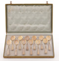Silver Flatware, Continental:Flatware, A CASED SET OF TWELVE SILVER GILT ICE CREAM SPOONS. Circa 1910.Marks: ...800... . 5-1/2 inches (14.0 cm) long, each. ...