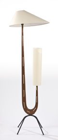 Decorative Arts, Continental:Lamps & Lighting, RISPAL. A Wood and Metal Floor Lamp, circa 1950. 65 inches (165.1cm) high. ...