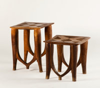 TWO NUPE TABLES Nigeria 21 x 17 inches (53.3 x 43.2 cm) taller