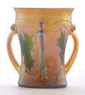 Art Glass:Tiffany , PROPERTY FROM A FLORIDA COLLECTION. TIFFANY STUDIOS. A FavrileGlass Three-Handled Loving Cup, circa 1915. Marks: engraved...