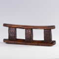 African, TWO AFRICAN HEADRESTS. Zulu and Tsonga, South Africa. 6 x 16 inches(15.2 x 40.6 cm) and 5-1/4 x 8-1/4 x 3 inches (13.3 x 21...