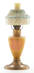 Art Glass:Tiffany , PROPERTY FROM A FLORIDA COLLECTION. TIFFANY STUDIOS. A Gilt Bronzeand Favrile Glass Oil Lamp, circa 1900. Marks: stamped ... (Total:2 Items)