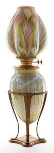 Art Glass:Tiffany , PROPERTY FROM A FLORIDA COLLECTION. TIFFANY STUDIOS. An Early GiltBronze and Favrile Glass Oil Converted Table Lamp, circ... (Total:5 Items)