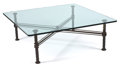 Furniture , ILANA GOOR. A Patinated Metal and Glass Coffee Table, circa 1985. 16-1/2 x 48 x 48 inches (41.9 x 121.9 x 121.9 cm). ...
