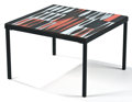 "Furniture : Continental, PROPERTY OF A FRENCH COLLECTOR. ROGER CAPRON. ""Navette"" A Glazed Ceramic and Metal Low Table, circa 1960. Marks: signed ..."