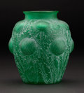 "Art Glass:Lalique, R. LALIQUE. ""Domremy"" A Green Glass Vase with white patina,Marcilhac no. 979, designed 1926. Marks: engraved R. LaliqueF..."