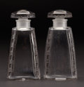"Art Glass:Lalique, R. LALIQUE. ""Fleurettes, no. 3"" A Pair of Glass Perfume Bottleswith charcoal patina, Marcilhac no. 577, designed 1919. Mark...(Total: 2 Items)"