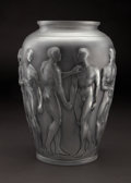 "Art Glass:Lalique, R. LALIQUE. ""Palestre"" A Glass Vase with charcoal gray patina,Marcilhac no. 1012, designed 1928. Marks: stenciled R.LALI..."