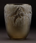"Glass, R. LALIQUE. ""Aigrettes"" An Olive Green Glass Vase, Marcilhac no. 988, designed 1926. Marks: engraved R. LALIQUE FRANCE. ..."