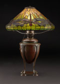 "PROPERTY FROM A FLORIDA COLLECTION  TIFFANY STUDIOS A ""Dragonfly"" Leaded Glass and Bronze Table Lamp, circa..."