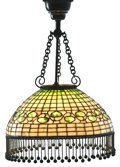 """Decorative Arts, American:Lamps & Lighting, TIFFANY STUDIOS. An """"Acorn"""" Leaded Glass and Bronze Chandelier, circa 1910. Shade stamped: TIFFANY STUDIOS NEW YORK. 32-..."""