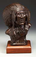 Sculpture, EARLE ERIK HEIKKA (American, 1910-1941). Indian Chief. Bronze. 9 x 14 x 8 inches (22.9 x 35.6 x 20.3 cm) (with base). Si...