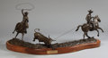 Sculpture, EDD HAYES (American, b. 1945). Roping the Calf, 1990. Bronze. 24 x 50 x 39 inches (61.0 x 127 x 99.1 cm) (with base). Ed...