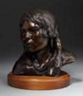 Sculpture, DEE TOSCANO (American, b. 1932). Portrait of an Indian Girl. Bronze. 12-1/2 x 11 x 10 inches (31.8 x 27.9 x 25.4 cm) (wi...