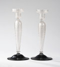 Art Glass:Steuben, STEUBEN. A Pair of Silverina Glass Candlesticks, circa 1900. Marks:stenciled Steuben. 12 inches (30.5 cm) high, each. ...(Total: 2 Items)