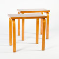 Furniture : Continental, ALVAR AALTO FOR FINMAR. A Pair of Small Rectangular Laminated BirchTables, model no. 86. Marks: one bearing Finmar labe... (Total: 2Items Items)