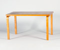 Furniture : Continental, ALVAR AALTO FOR FINMAR. A Rectangular Laminated Birch Table, modelno. 81. Marks: bearing Finmar label. 48 x 30 x 27-1/2...