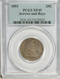 Seated Quarters: , 1853 25C Arrows and Rays XF45 PCGS. PCGS Population (93/614). NGCCensus: (78/613). Mintage: 15,210,020. Numismedia Wsl. Pr...
