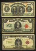 Canadian Currency: , Three Dominion Notes.. ... (Total: 3 notes)
