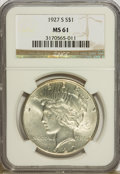 Peace Dollars: , 1927-S $1 MS61 NGC. NGC Census: (127/2375). PCGS Population(140/3711). Mintage: 866,000. Numismedia Wsl. Price for problem...