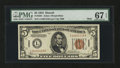 Small Size:World War II Emergency Notes, Fr. 2301 $5 1934 Mule Hawaii Federal Reserve Note. PMG Superb GemUnc 67 EPQ.. ...