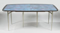 Furniture : American, DONALD DESKEY FOR CHARAK. A Walnut, Handpainted Micarta, and Cast Aluminum Dining Table, for the Charak Modern line, designe...
